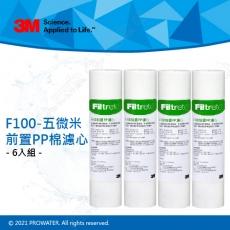 《3M》F100五微米前置PP棉濾心 6入★3M原廠品質保證★可阻擋鐵鏽/過濾泥沙
